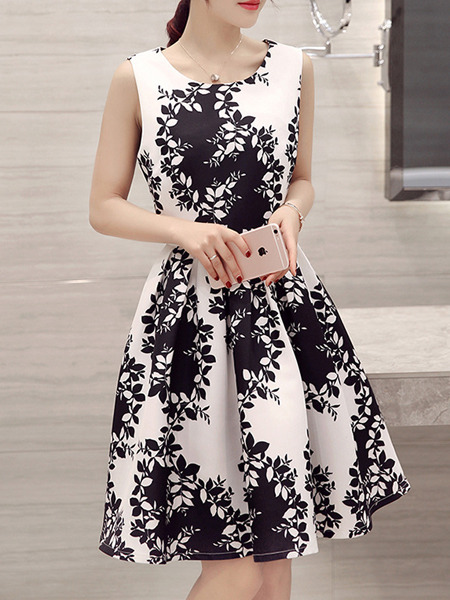 Black White Short Fit Flare Dress For Casual Party Evening