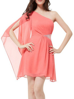 Pink Cute One Shoulder Above Knee Plus Size Fit & Flare Dress for Party Evening Cocktail