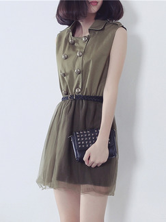 Brown Above Knee Shirt Fit  Flare Dress for Casual Party