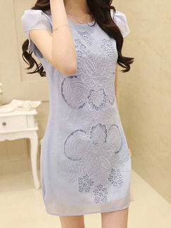 Blue Above Knee Plus Size Sheath Lace Dress for Evening Party Cocktail