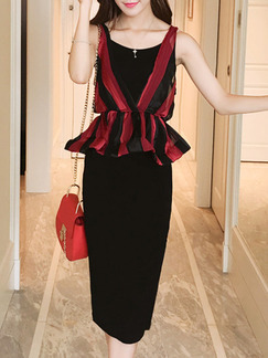 Black and Red Two Piece Sheath Knee Length Dress for Party Cocktail Evening