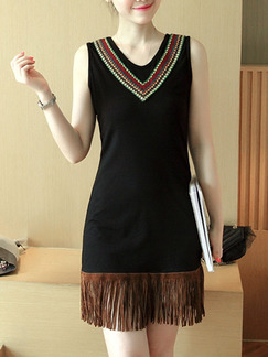 Black Brown Above Knee Sheath Dress for Casual Party Evening