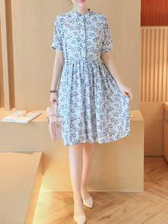Blue Floral Knee Length Fit  Flare Plus Size Shirt Dress for Casual Office Seasonal Discount