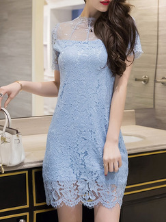 Blue Sheath Above Knee Plus Size Lace Dress for Party Cocktail Evening