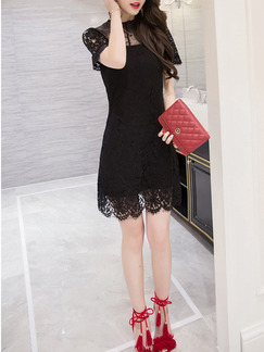 Black Sheath Lace Above Knee Plus Size Dress for Party Evening Cocktail