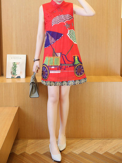 Red Colorful Shift Above Knee Plus Size Dress for Casual Party