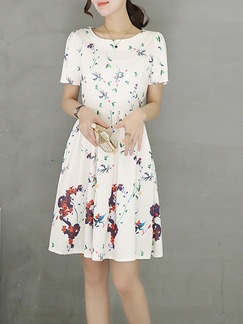 White Colorful Above Knee Plus Size Fit & Flare Floral Dress for Casual Party