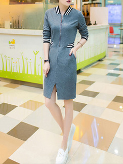 Blue Above Knee Sheath Plus Size Long Sleeve Dress for Casual  Seasonal Discount