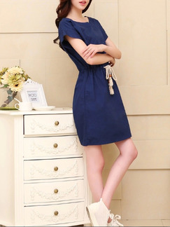 Blue Above Knee Plus Size Shift Dress for Casual Party Seasonal Discount