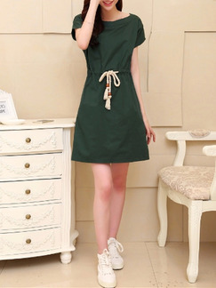 Green Above Knee Plus Size Shift Dress for Casual Party