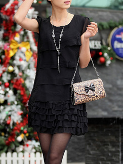 Black Above Knee Shift Plus Size Dress for Casual Party Office