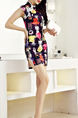 Black Colorful Above Knee Bodycon Dress for Casual Party Evening Seasonal Discount