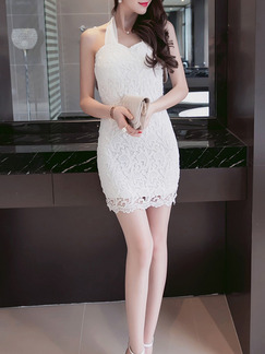 White Above Knee Lace Bodycon Dress for Party Evening Cocktail