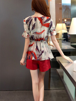 Red and Cream Two Piece Blouse Shorts Plus Size Jumpsuit for Casual Office Evening On Sale