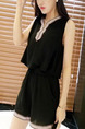Black Two Piece Shirt Shorts Jumpsuit for Casual Evening Party