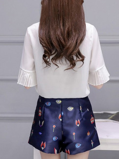 White and Blue Two Piece Shirt Shorts Wide Leg Plus Size Jumpsuit for Casual Evening Office On Sale