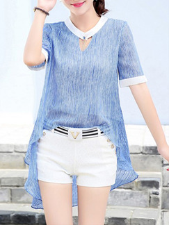 Blue and White Two Piece Shirt Shorts Plus Size Jumpsuit for Casual Office