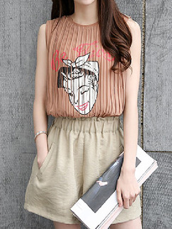 Beige Brown Two Piece Shirt Shorts Wide Leg Plus Size Jumpsuit for Casual On Sale