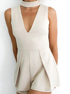 White One Piece V Neck Halter Shorts Plus Size Jumpsuit for Party Evening Cocktail On Sale