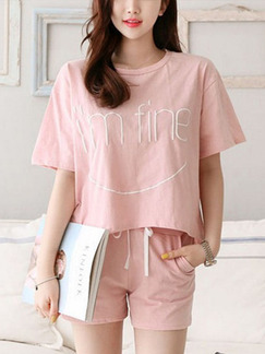 Pink Two Piece Shirt Shorts Plus Size Cute Jumpsuit for Casual On Sale