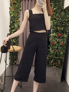 Black Two Piece Shirt Pants Slip Jumpsuit for Casual Office Party