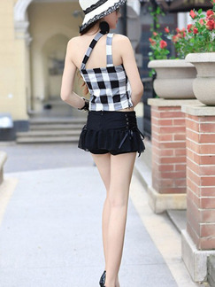 Black and White Two Piece Shirt Shorts Slip Jumpsuit for Casual Evening Party