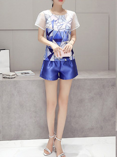 Blue and White Two Piece Shirt Shorts Plus Size Jumpsuit for Casual Party Evening On Sale