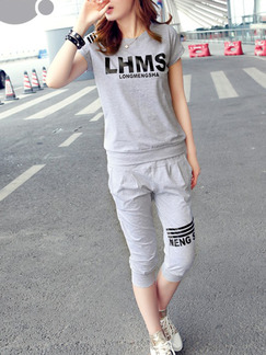 Grey Two Piece Long Pants Jumpsuit for Casual On Sale
