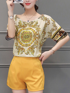 Yellow and Golden Two Piece Shirt Shorts Plus Size Jumpsuit for Casual Evening