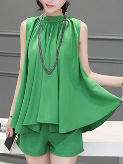 Green Two Piece Shirt Shorts Plus Size Jumpsuit for Casual Evening Office On Sale