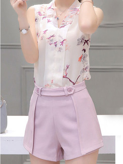 White & Pink Two Piece Shirt Shorts Plus Size Jumpsuit for Casual Evening Party