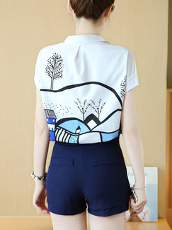 White and Blue Two Piece Shirt Shorts Plus Size Jumpsuit for Casual Evening Office On Sale