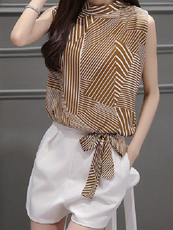 Brown and White Two Piece Shirt Shorts Plus Size Wide Leg Jumpsuit for Casual Office Evening On Sale