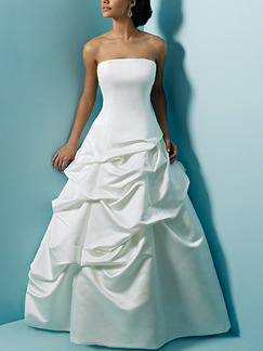 White Strapless A-Line Dress for Wedding On Sale