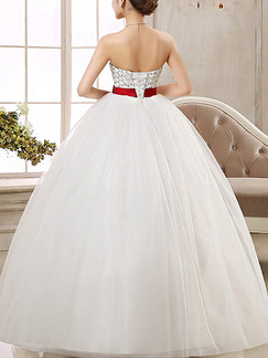 White Strapless Ball Gown Ribbon Dress for Wedding On Sale