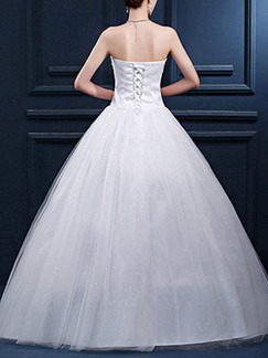 White Sweetheart Ball Gown Embroidery Crystal Dress for Wedding On Sale
