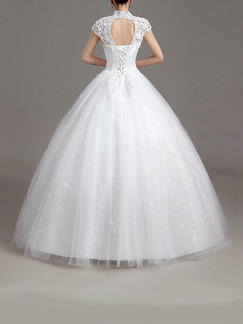 White High Neck Ball Gown Beading Embroidery Dress for Wedding On Sale