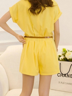 Yellow One Piece Short Plus Size Jumpsuit for Casual Evening Party On Sale