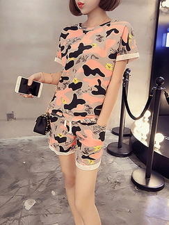 Pink and Beige Two Piece Shirt Shorts Plus Size Jumpsuit for Casual On Sale