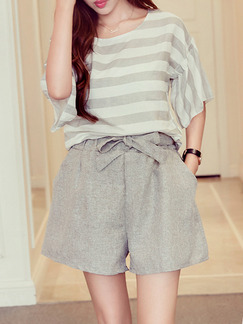 Gray and White Stripe Two Piece Shirt Shorts Plus Size Wide Leg Jumpsuit for Casual Evening Party On Sale
