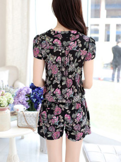 Black and Pink Two Piece Short Pants Floral Jumpsuit for Casual Party Evening On Sale