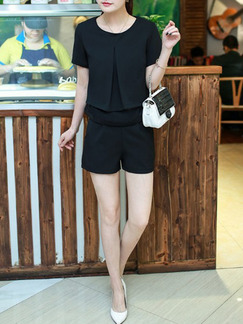 Black Two Piece Shirt Shorts Plus Size Jumpsuit for Casual Office Evening On Sale