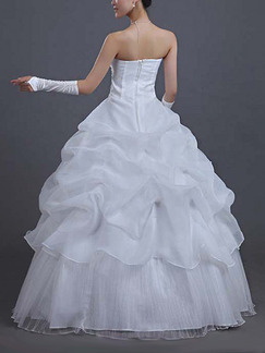 White Strapless Ball Gown Tiered Dress for Wedding On Sale