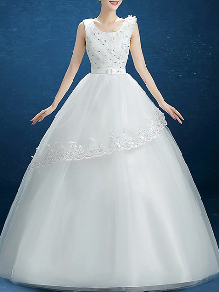 White Scoop Princess Beading Dress for Wedding On Sale