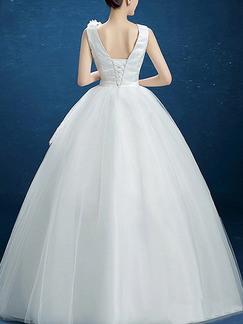 White Scoop Ball Gown Beading Dress for Wedding On Sale