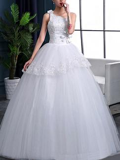White One Shoulder Ball Gown Embroidery Sash Bowknot Dress for Wedding On Sale