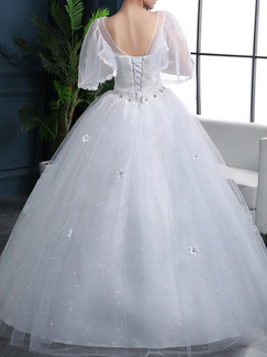 White V Neck Ball Gown Appliques Embroidery Dress for Wedding On Sale
