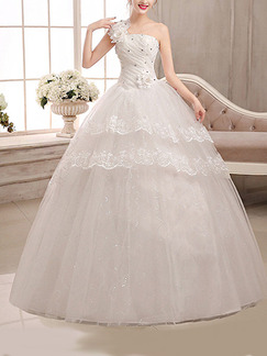 White One Shoulder Ball Gown Embroidery Beading Dress for Wedding On Sale