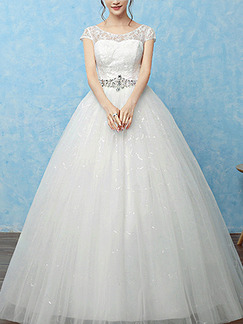 White Illusion Ball Gown Sequin Lace Bateau Dress for Wedding On Sale