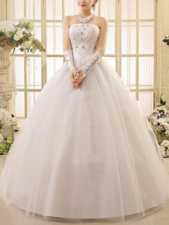 White Strapless Ball Gown Halter Beading Dress for Wedding On Sale